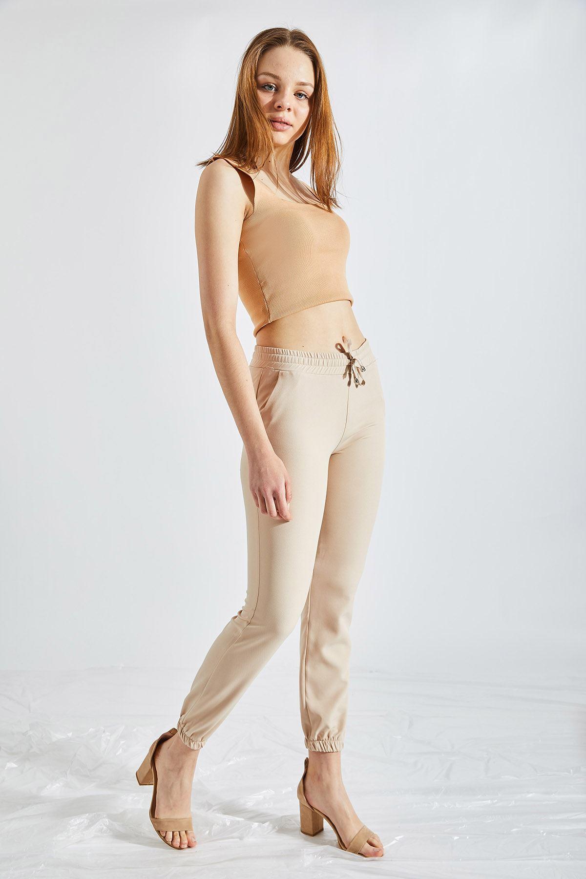 Kadın Bel Ve Paça Lastikli Vizon Kumaş Pantolon
