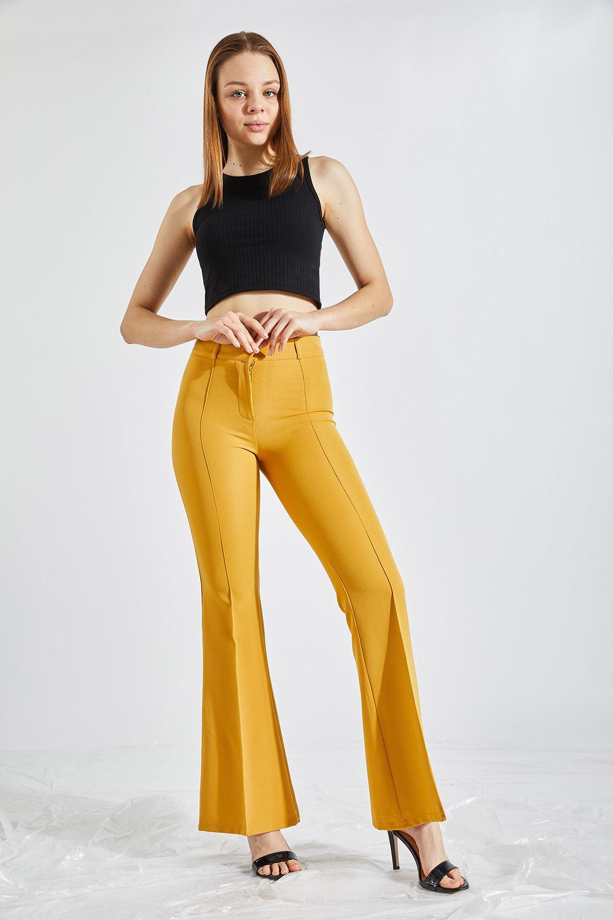 Kadın İspanyol Paça Hardal Kumaş Pantolon