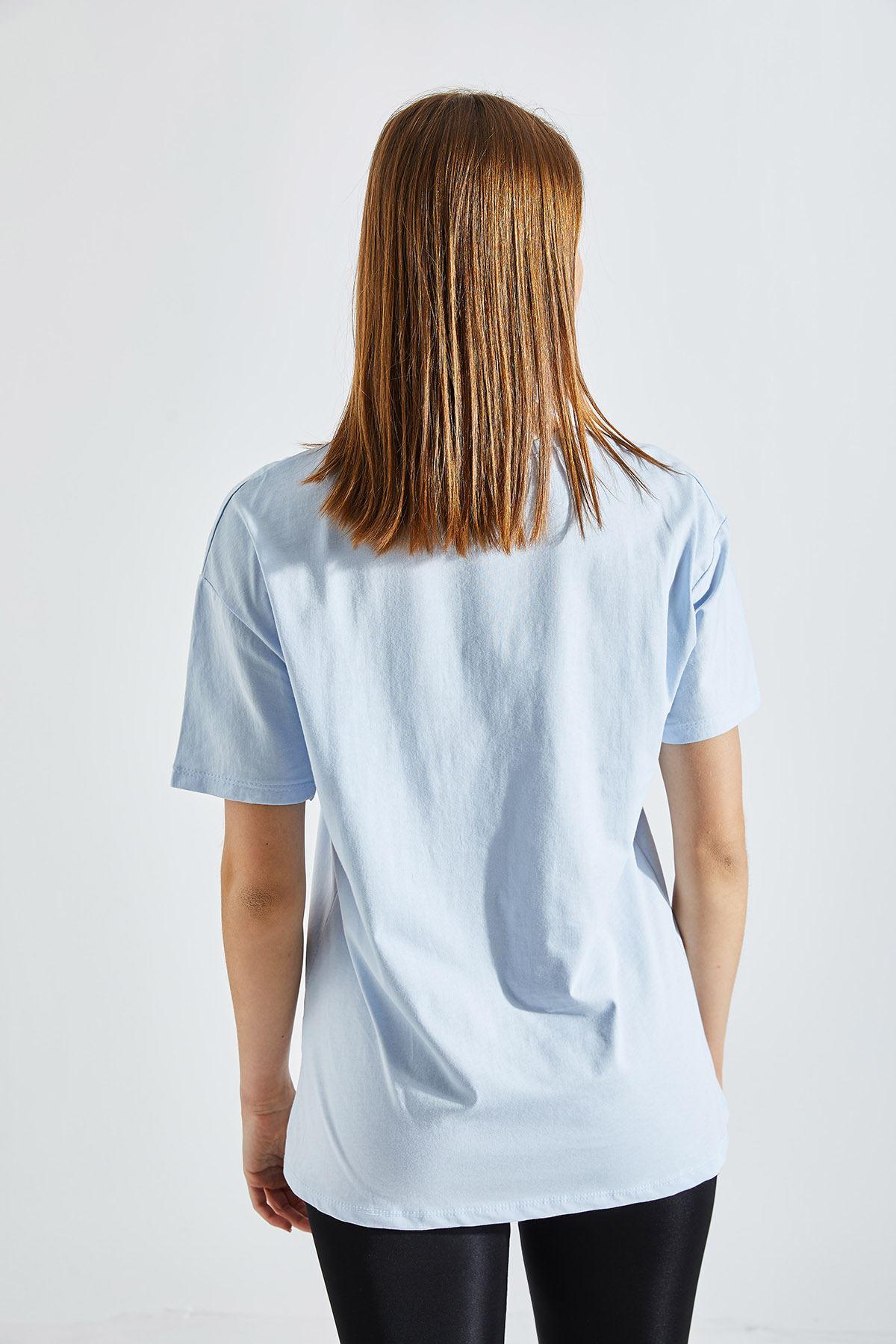 Kadın Baskılı Mavi Tişört