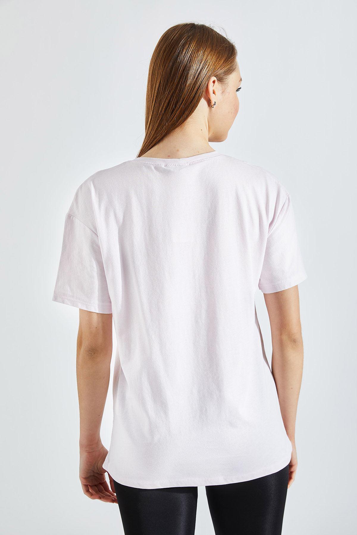 Kadın Baskılı Pembe Tişört