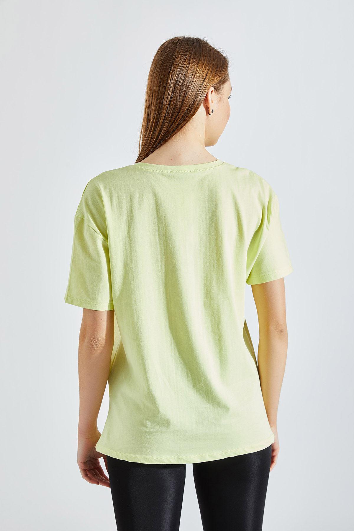 Kadın Baskılı Yeşil Tişört
