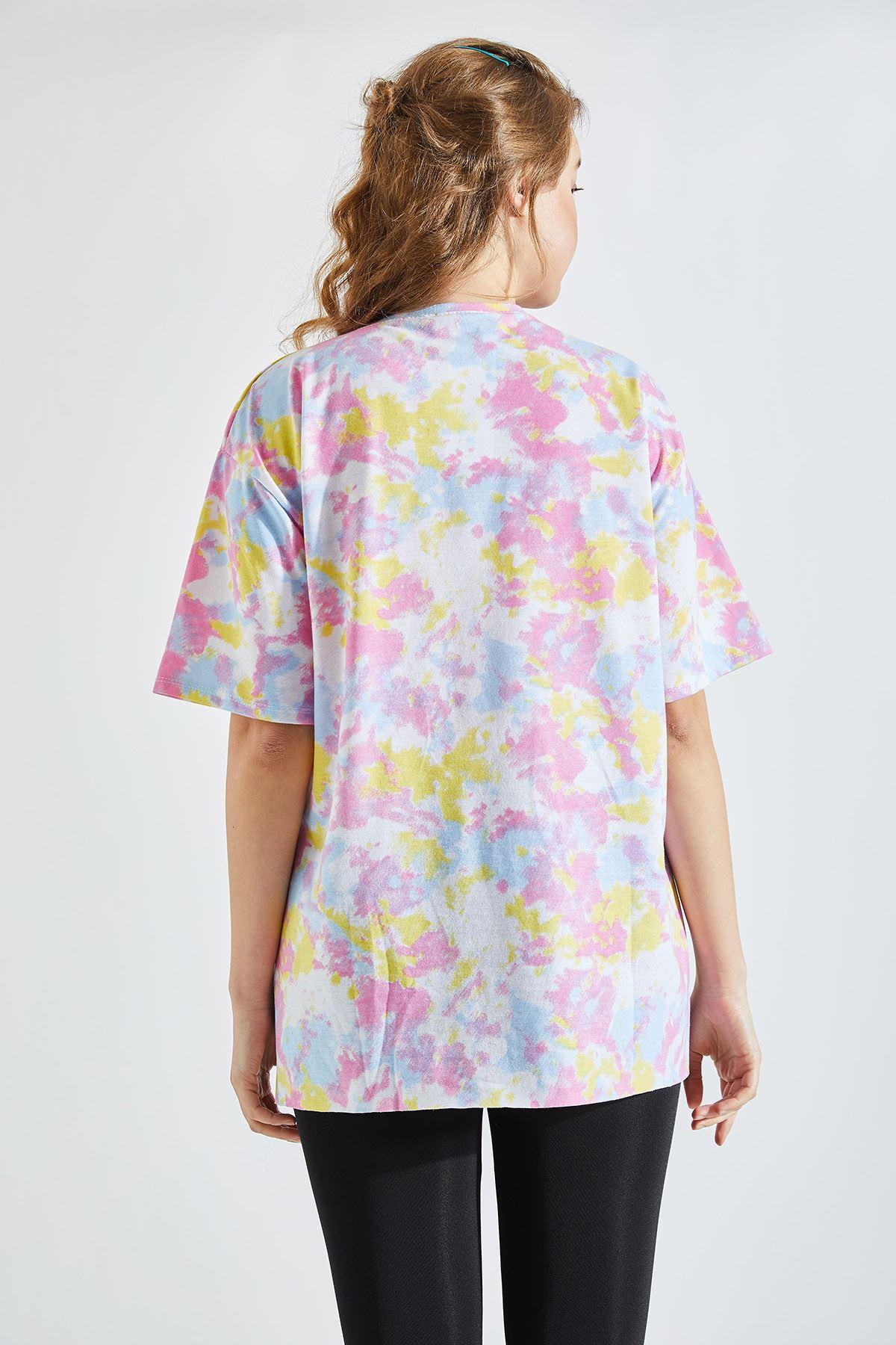 Kadın Batik Desen Pembe Tişört