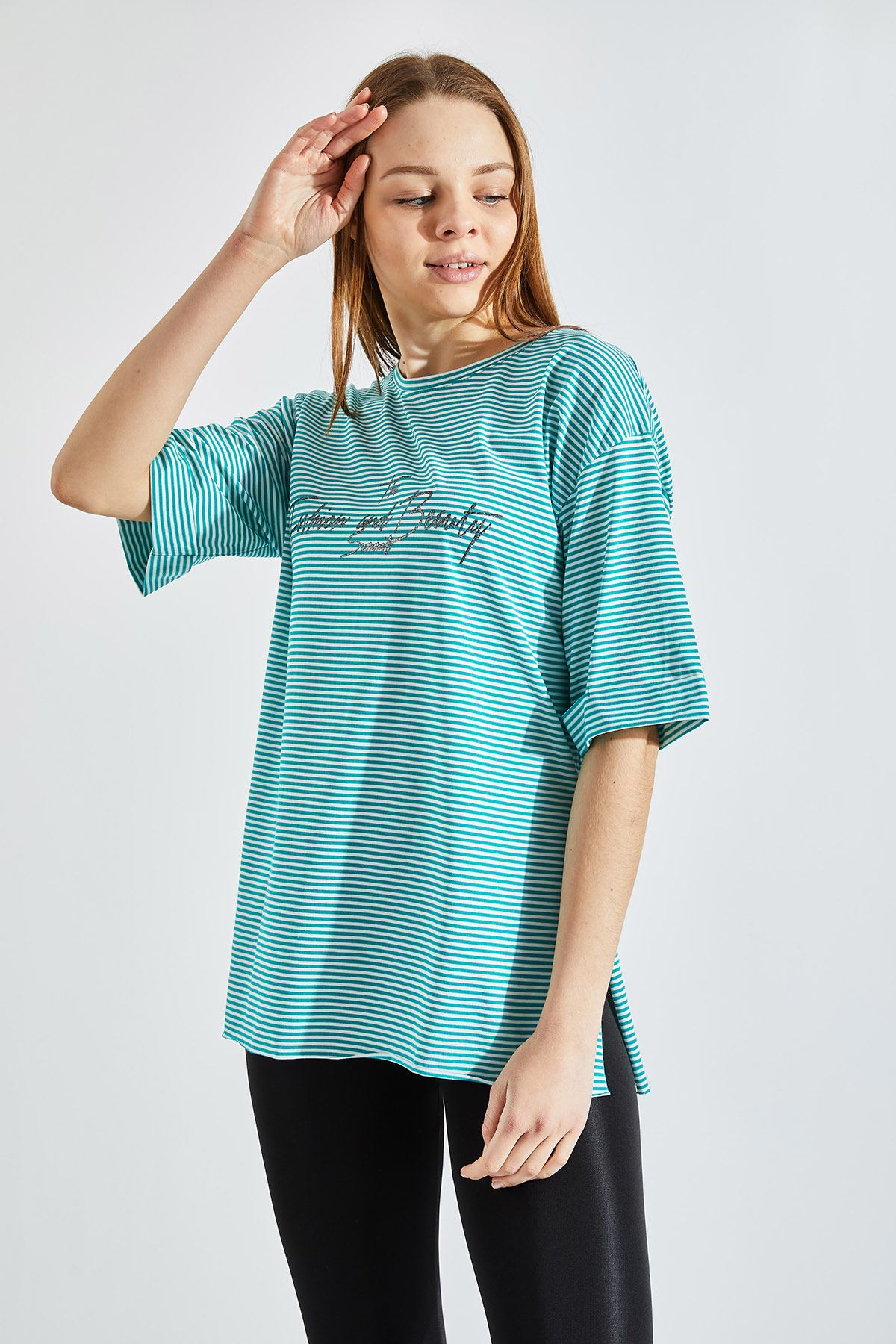 Kadın Çizgili Yazı Baskılı Yeşil Tişört