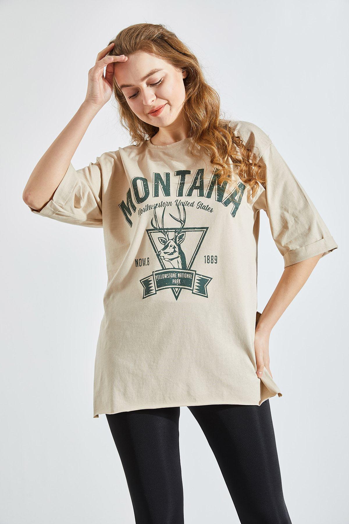 Kadın Montana Baskılı Bej Tişört