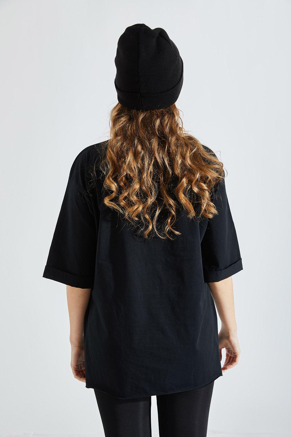 Kadın Montana Baskılı Siyah Tişört