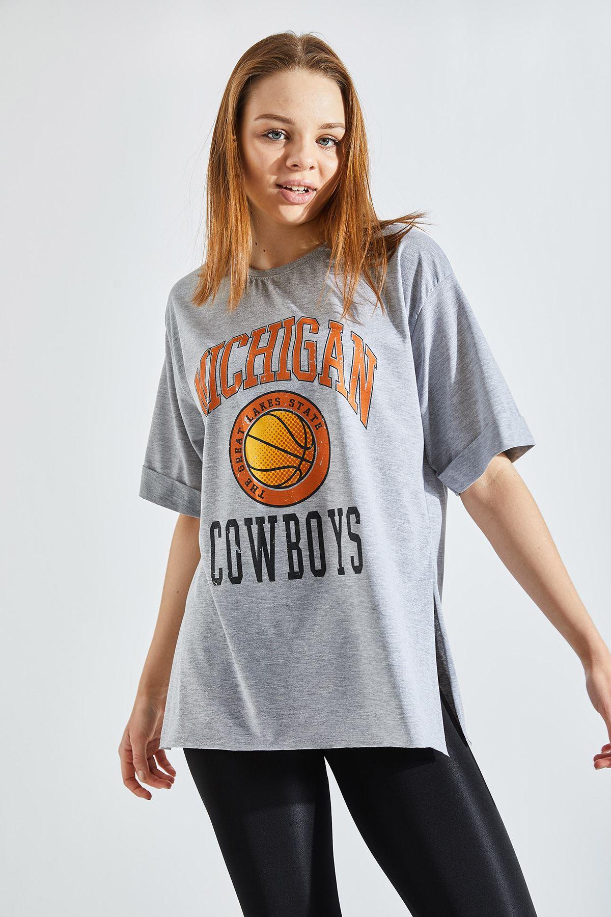 Kadın Salaş Kowboys Baskılı Gri Tişört
