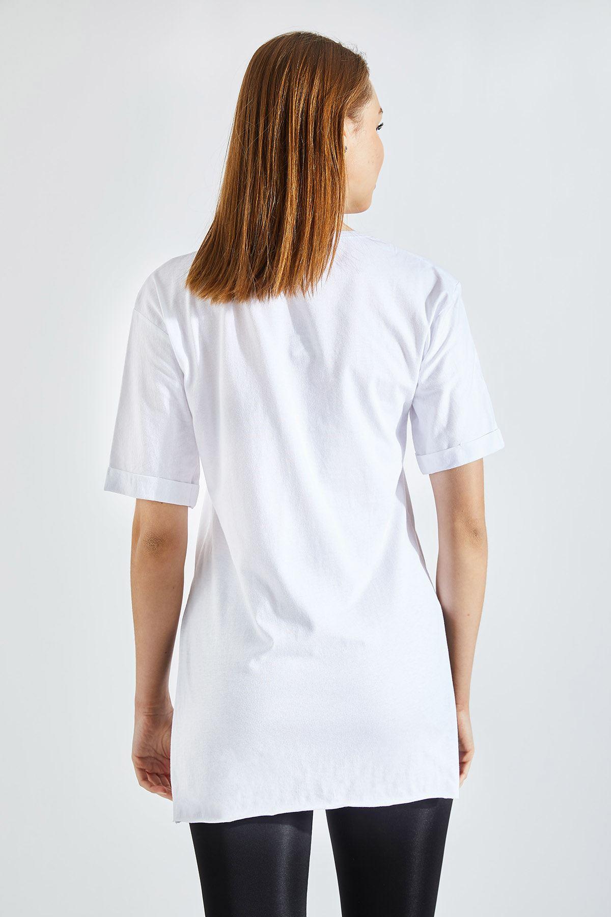 Kadın Tenk U Neks Baskı Beyaz Tişört