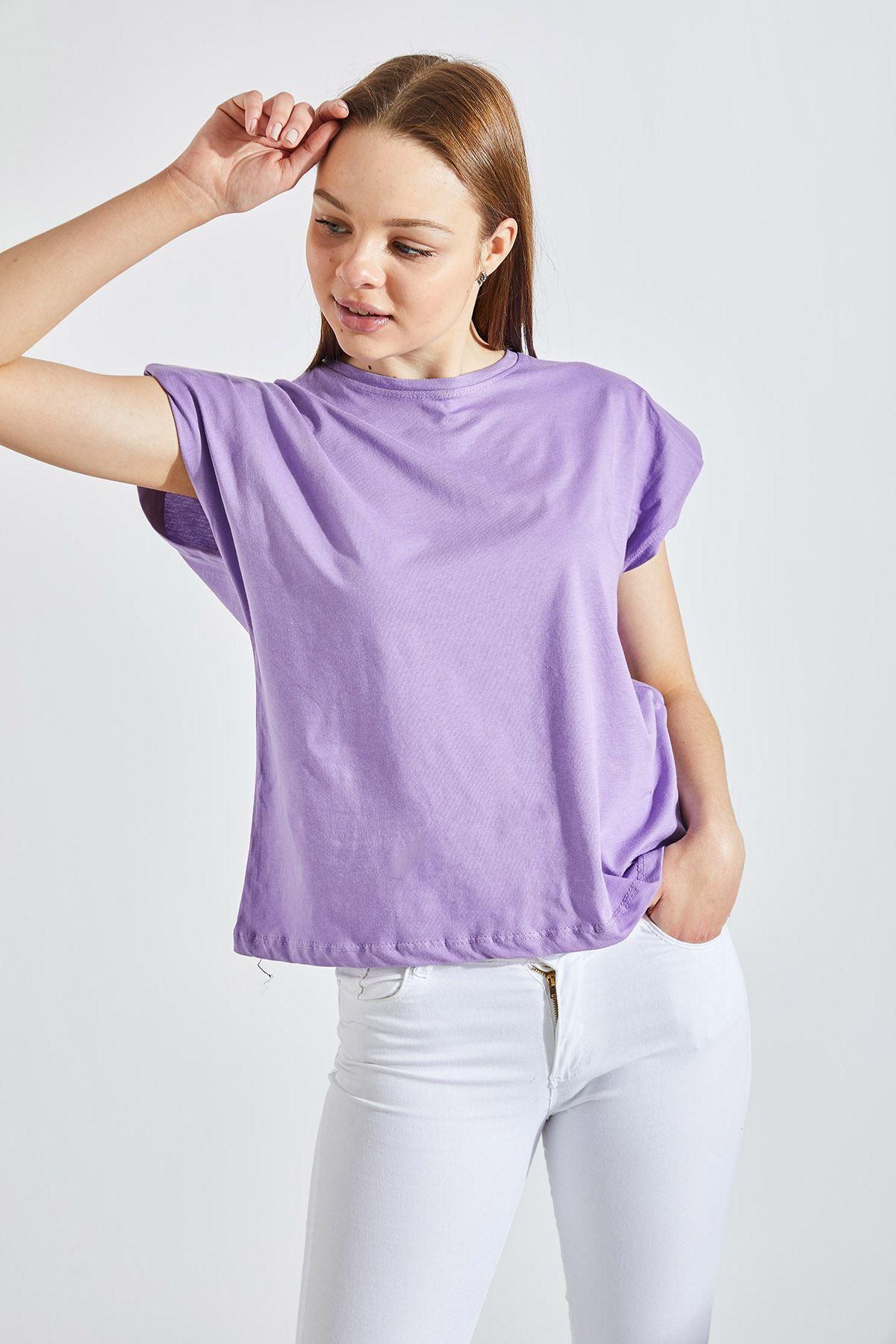 Kadın Vatkalı Mor Tişört