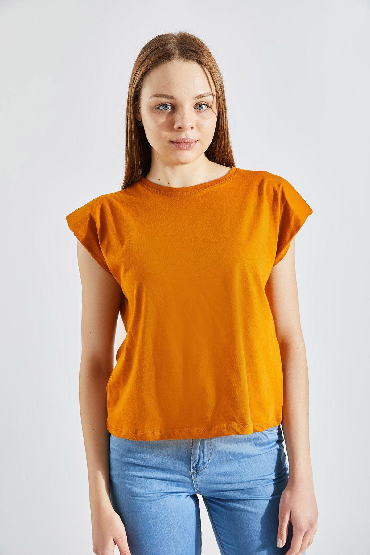 Kadın Vatkalı Turuncu Tişört