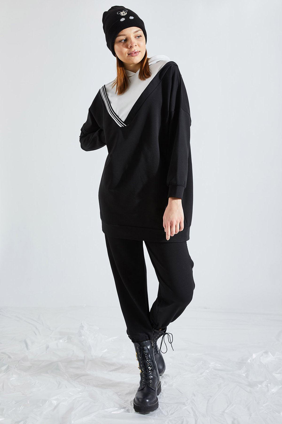 Kadın Kapüşonlu 2' li Siyah Takım