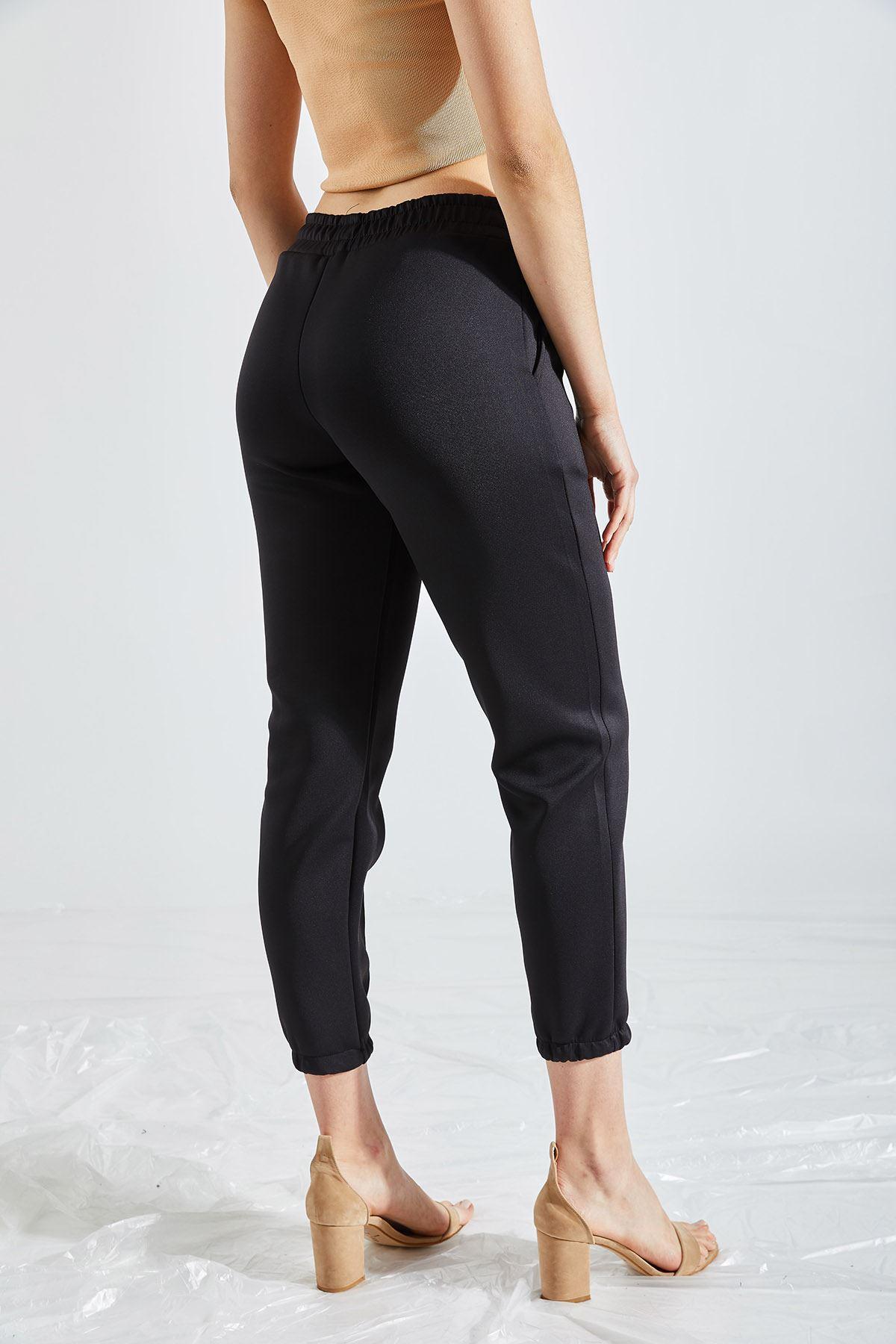 Kadın Çımalı Paça Lastikli Scuba Siyah Pantolon