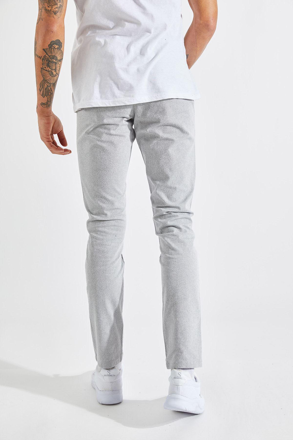 Erkek Slim Yan Cepli Bej Örgü Pantolon