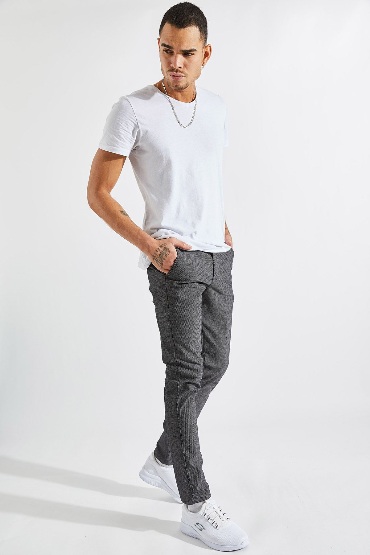 Erkek Slim Yan Cepli Füme Örgü Pantolon