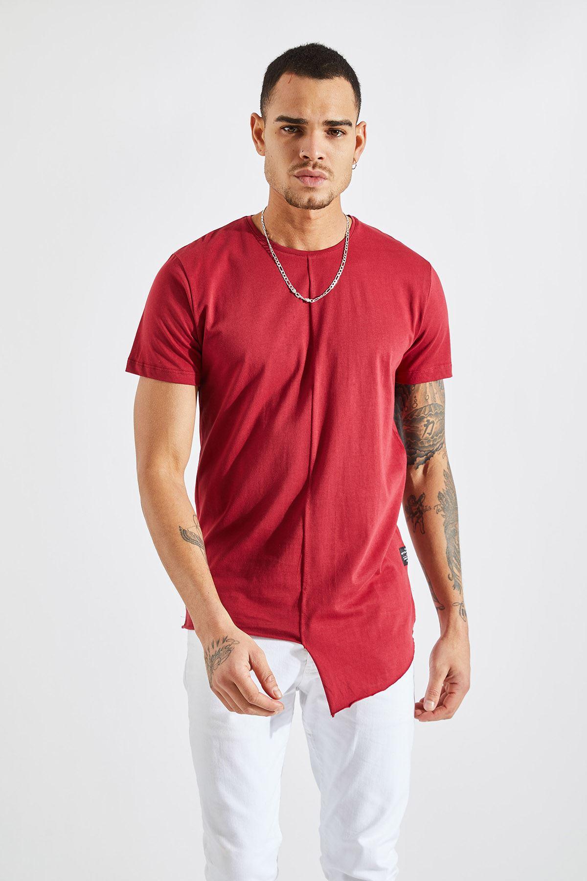 Erkek Önü Parçalı Asimetrik Bordo T-Shirt