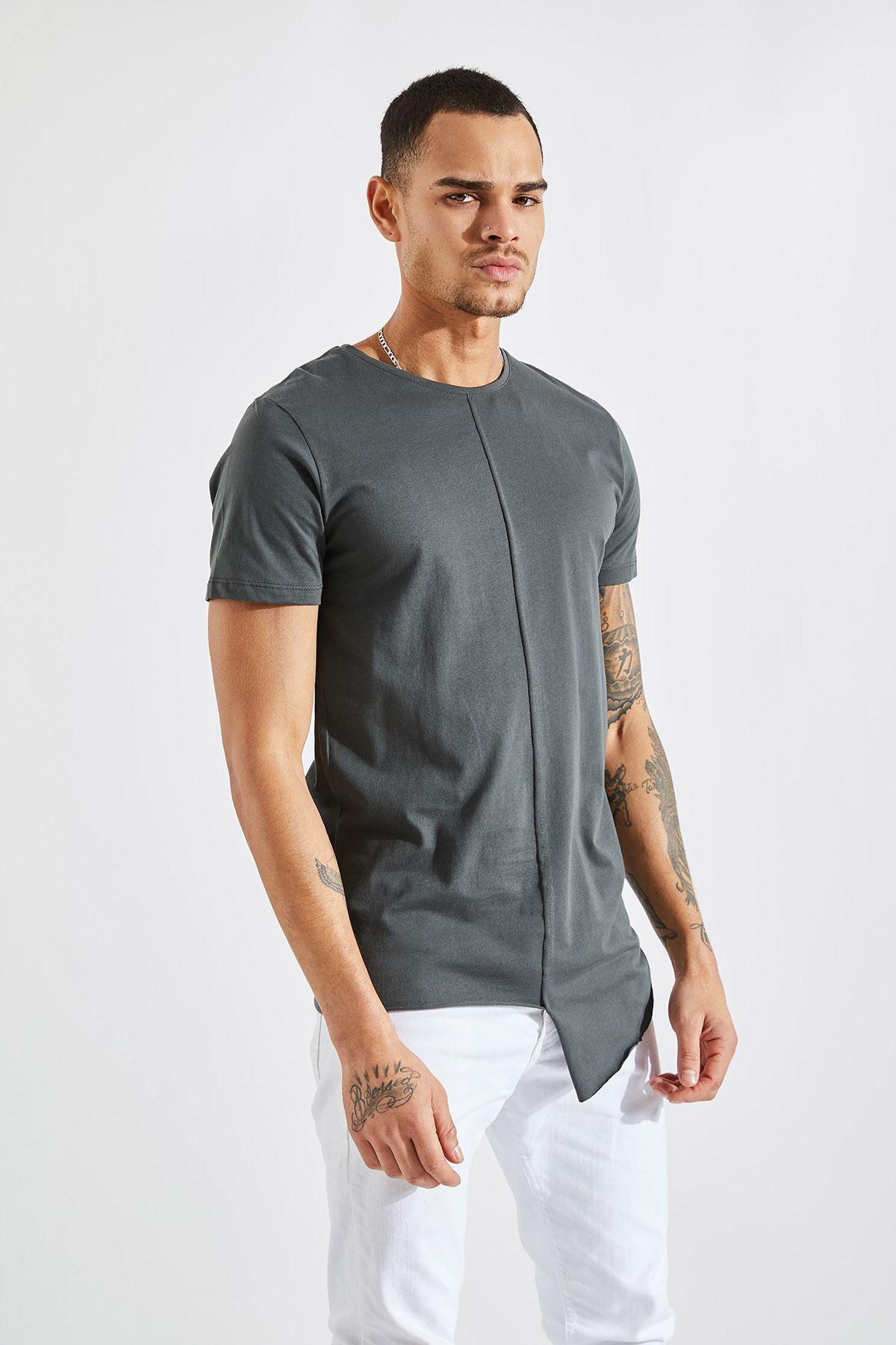 Erkek Önü Parçalı Asimetrik Füme T-Shirt