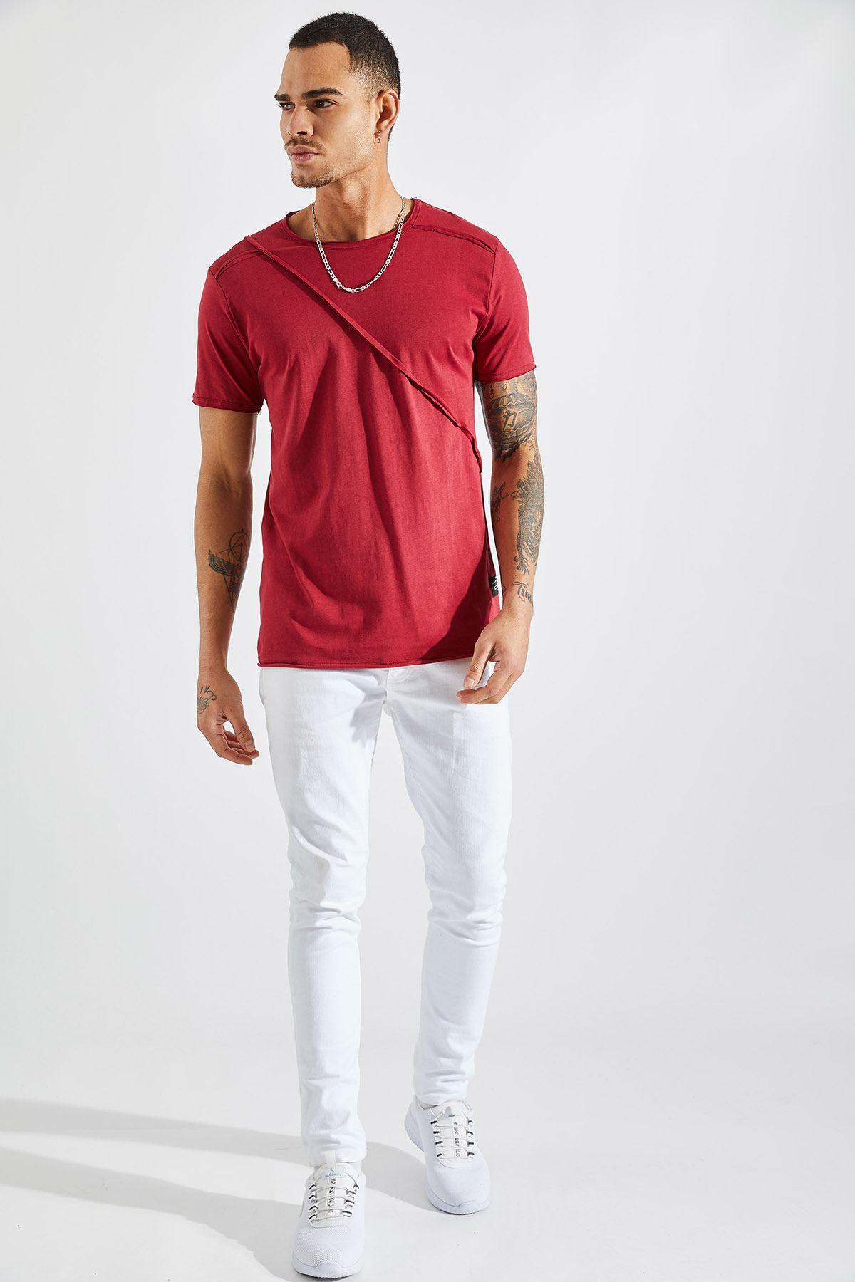 Erkek Omuz Parçalı Bordo Tişört