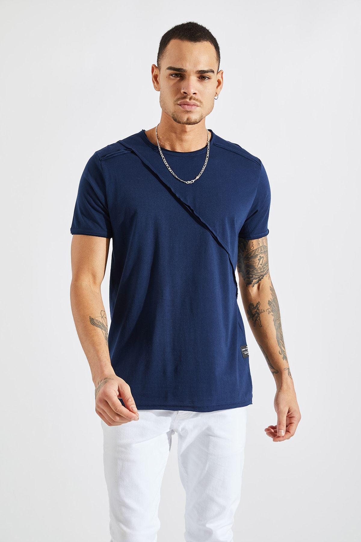 Erkek Omuz Parçalı Lacivert Tişört