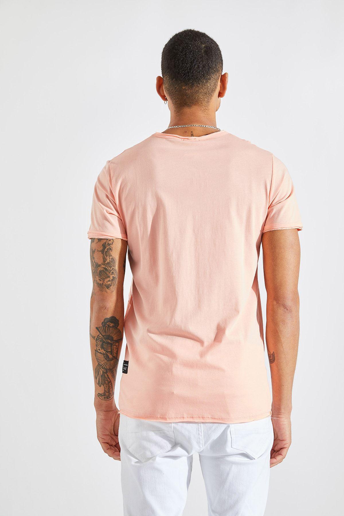 Erkek Omuz Parçalı Somon Tişört