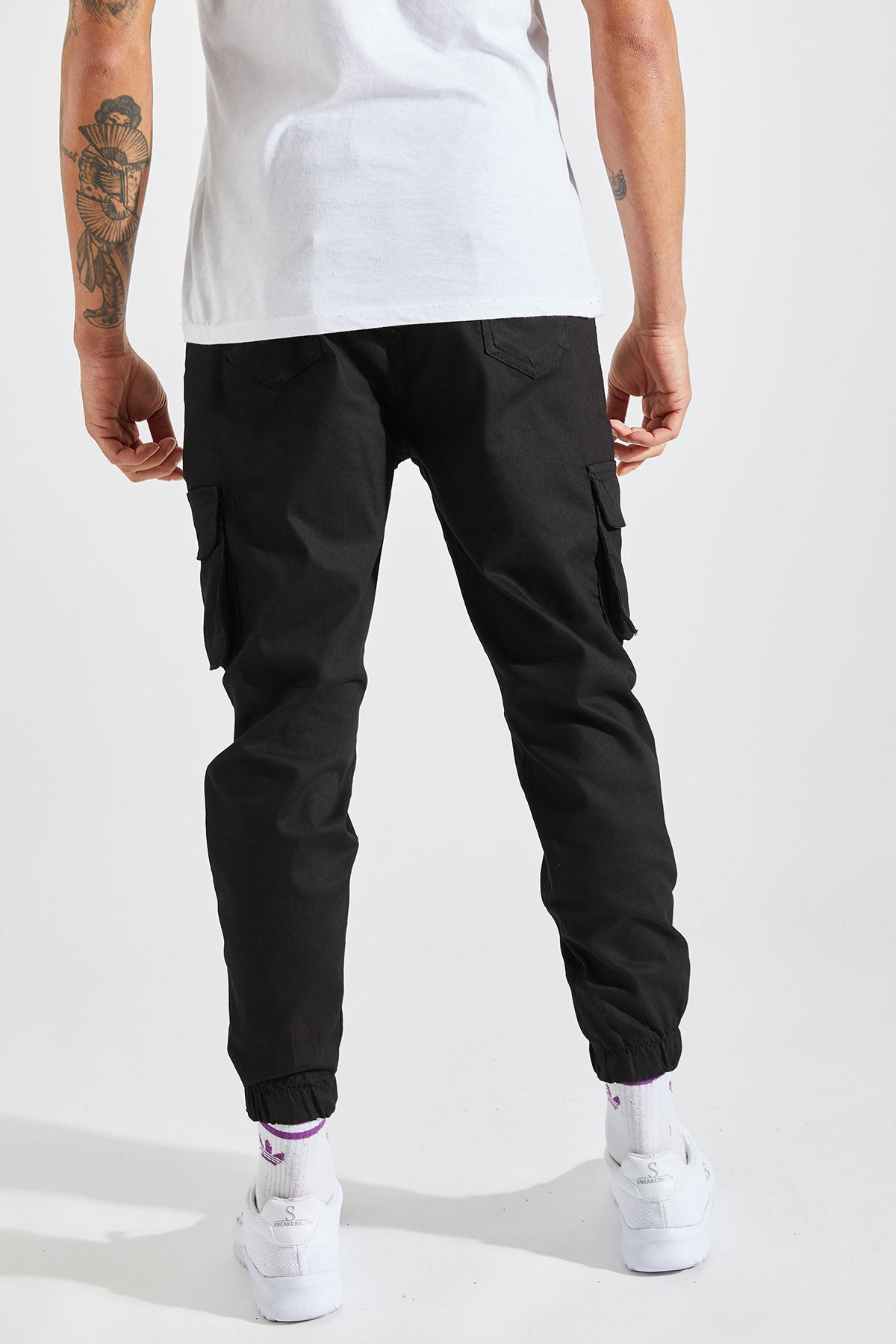 Erkek Kargo Cep Siyah Pantolon