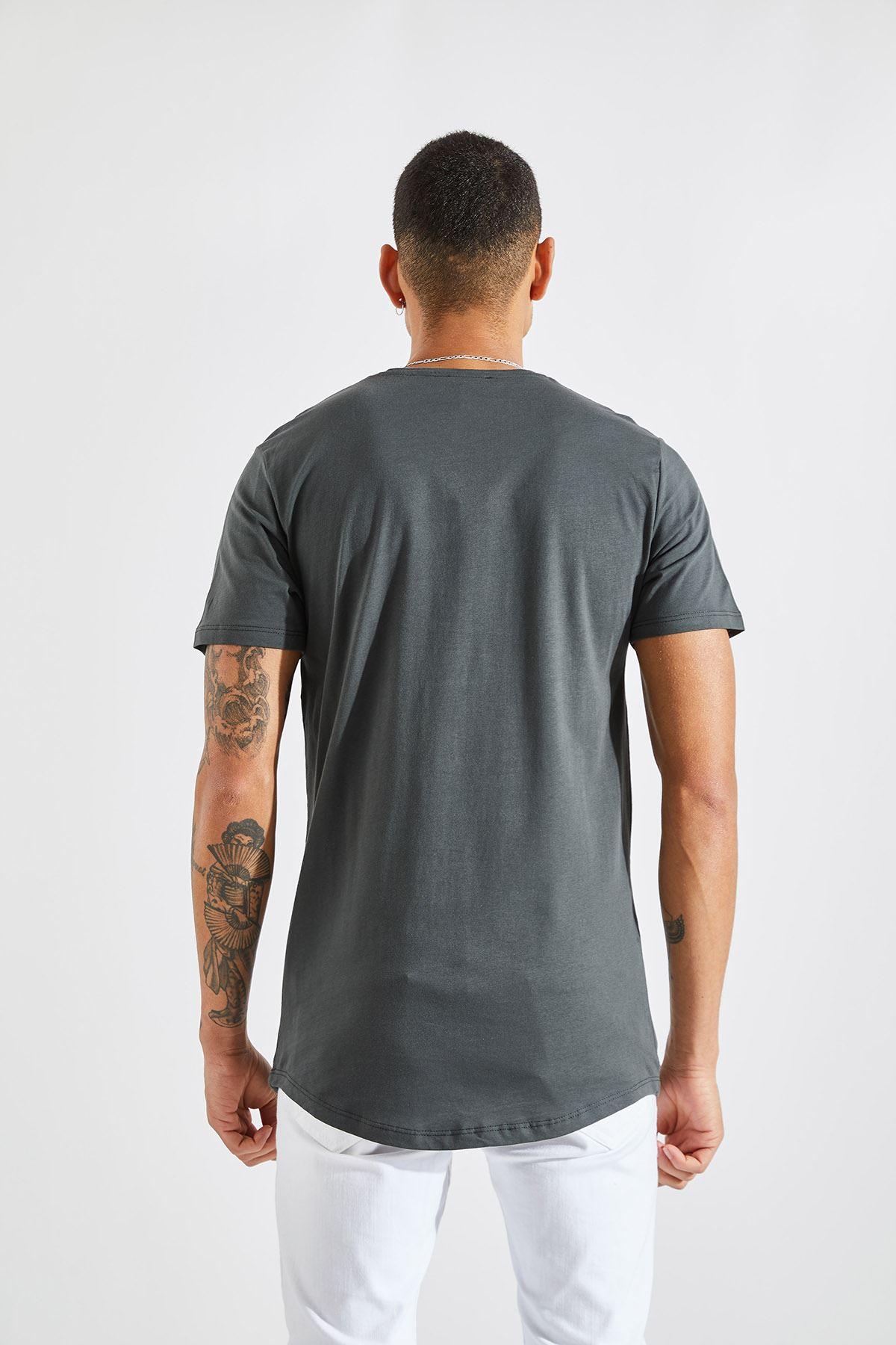 Erkek O Yaka 4 Çizgi Baskı Füme Tişört