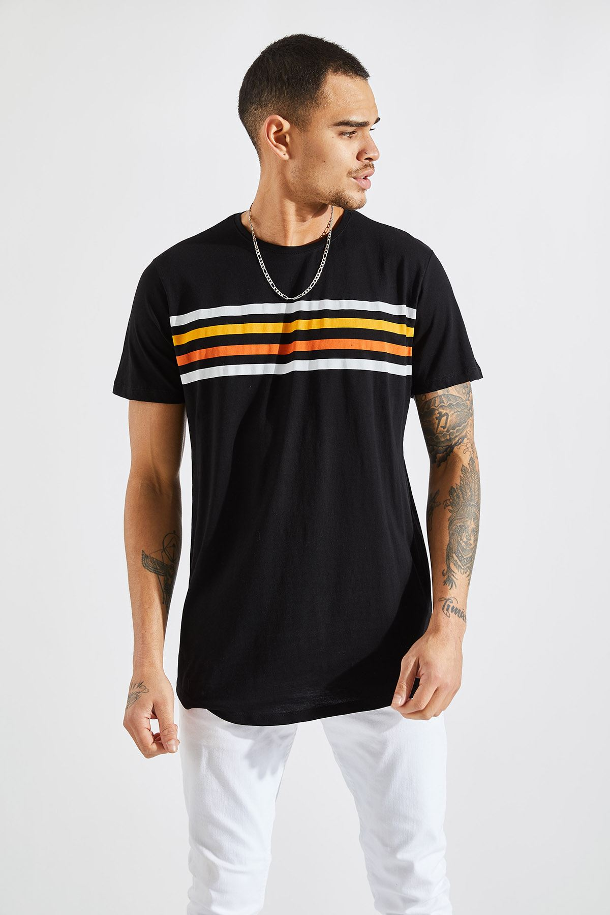 Erkek O Yaka 4 Çizgi Baskı Siyah Tişört