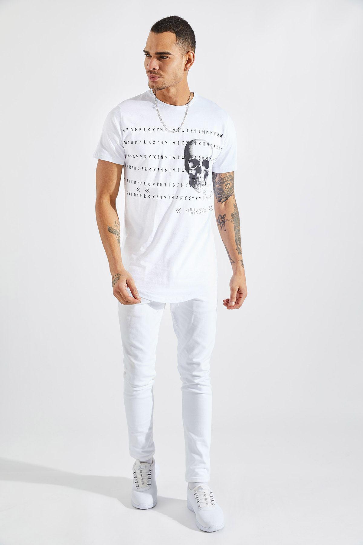 Erkek O Yaka Kuru Kafa Baskılı Beyaz Tişört