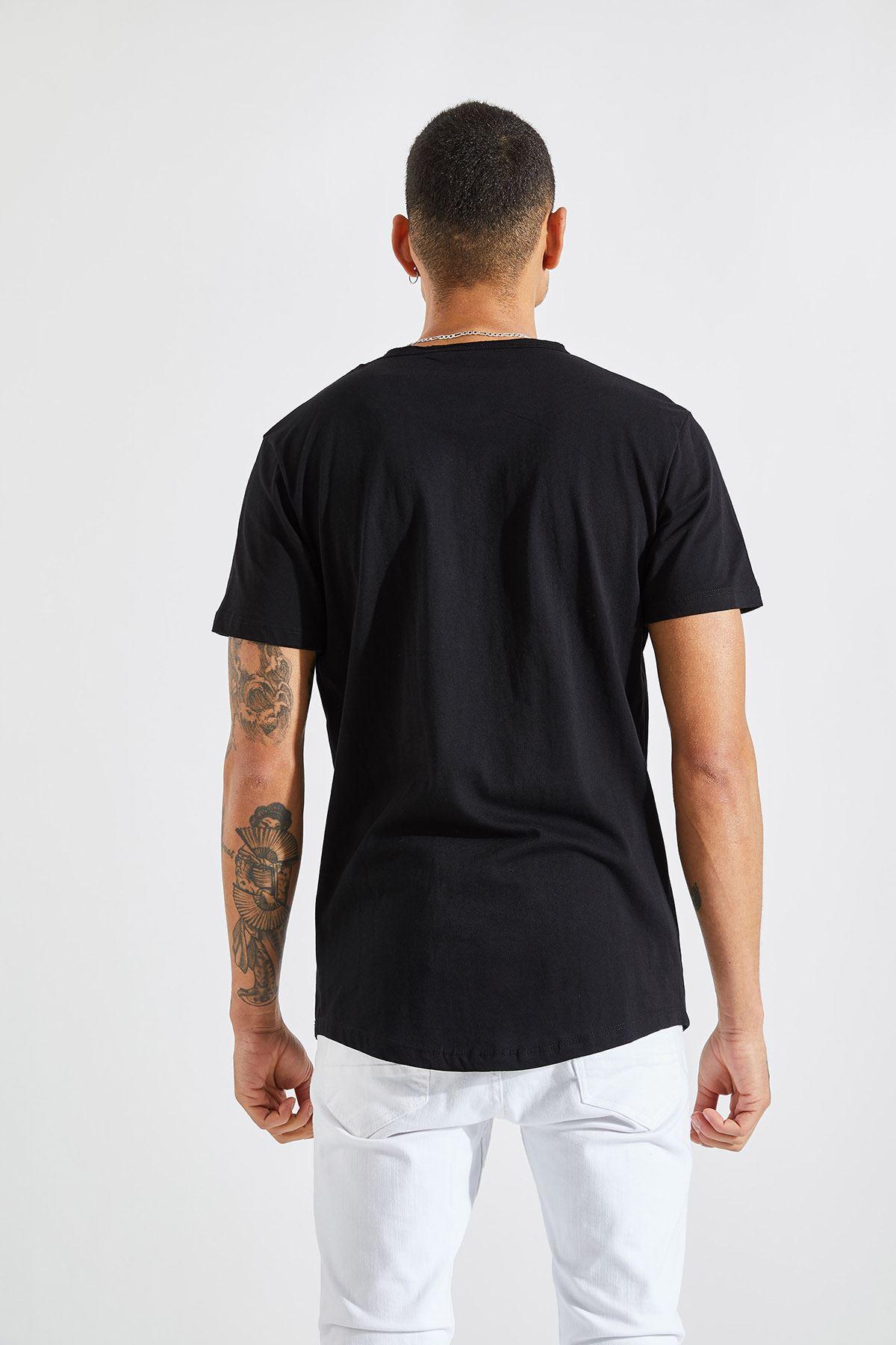 Erkek Pis Yaka 3 Çizgi Fırça Baskı Siyah Tişört