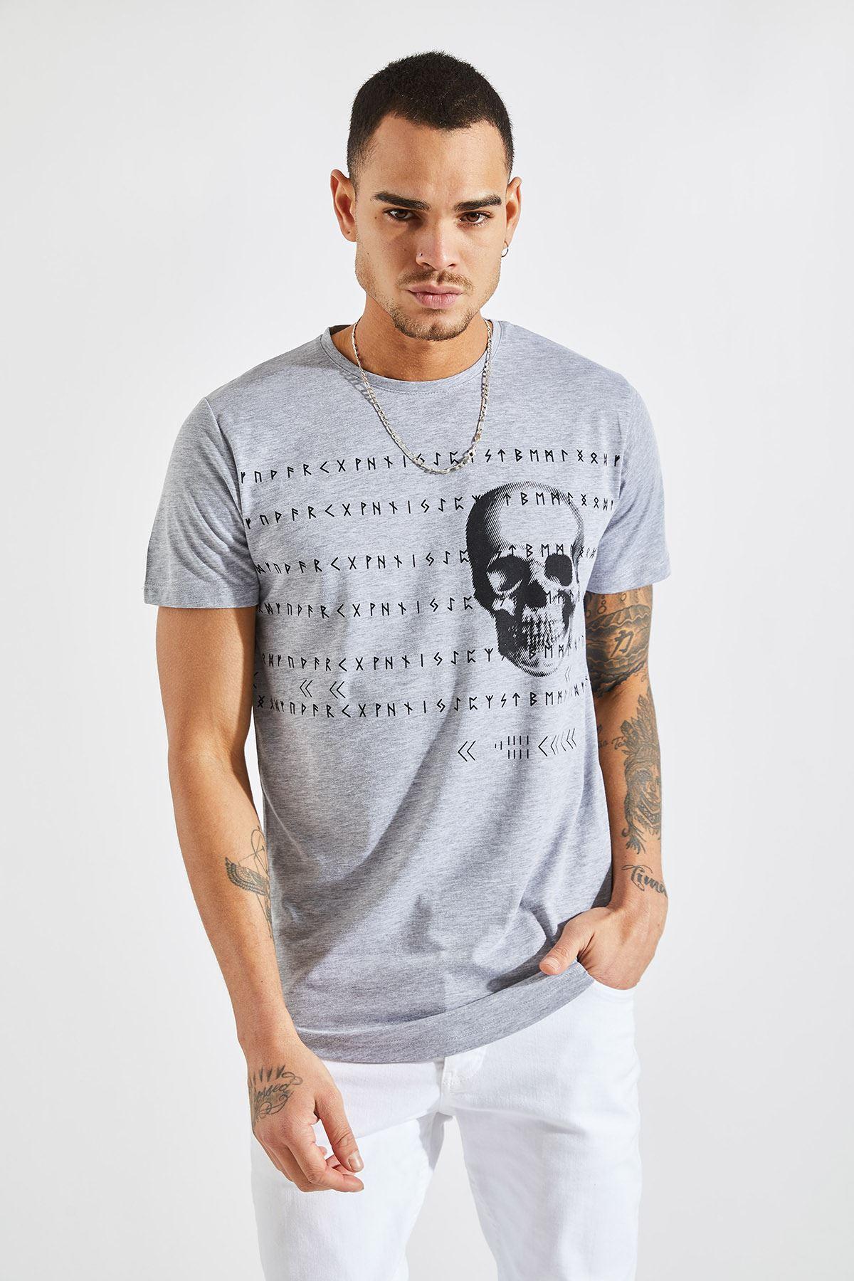 Erkek O Yaka Kuru Kafa Baskılı Gri Tişört
