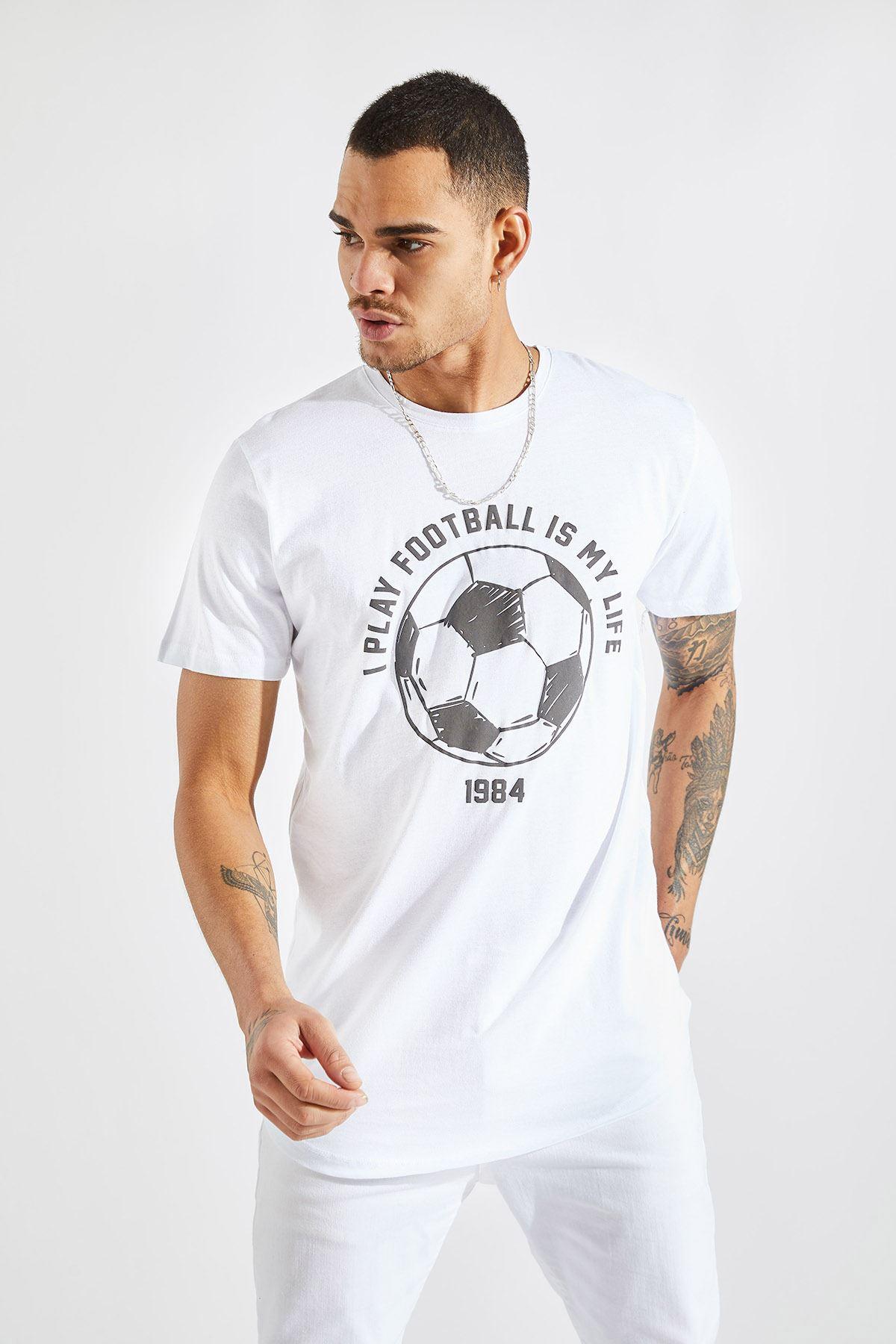 Erkek I Play Football Baskı Beyaz Tişört