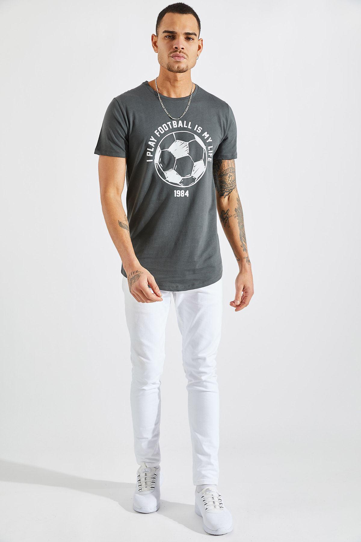 Erkek I Play Football Baskı Füme Tişört