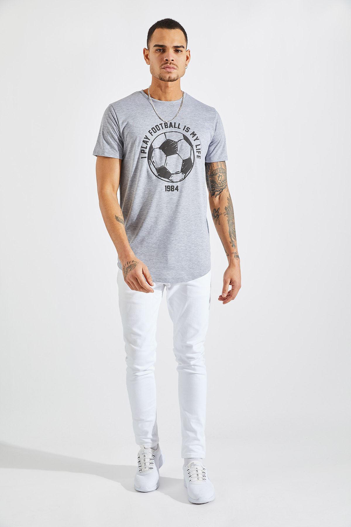 Erkek I Play Football Baskı Gri Tişört