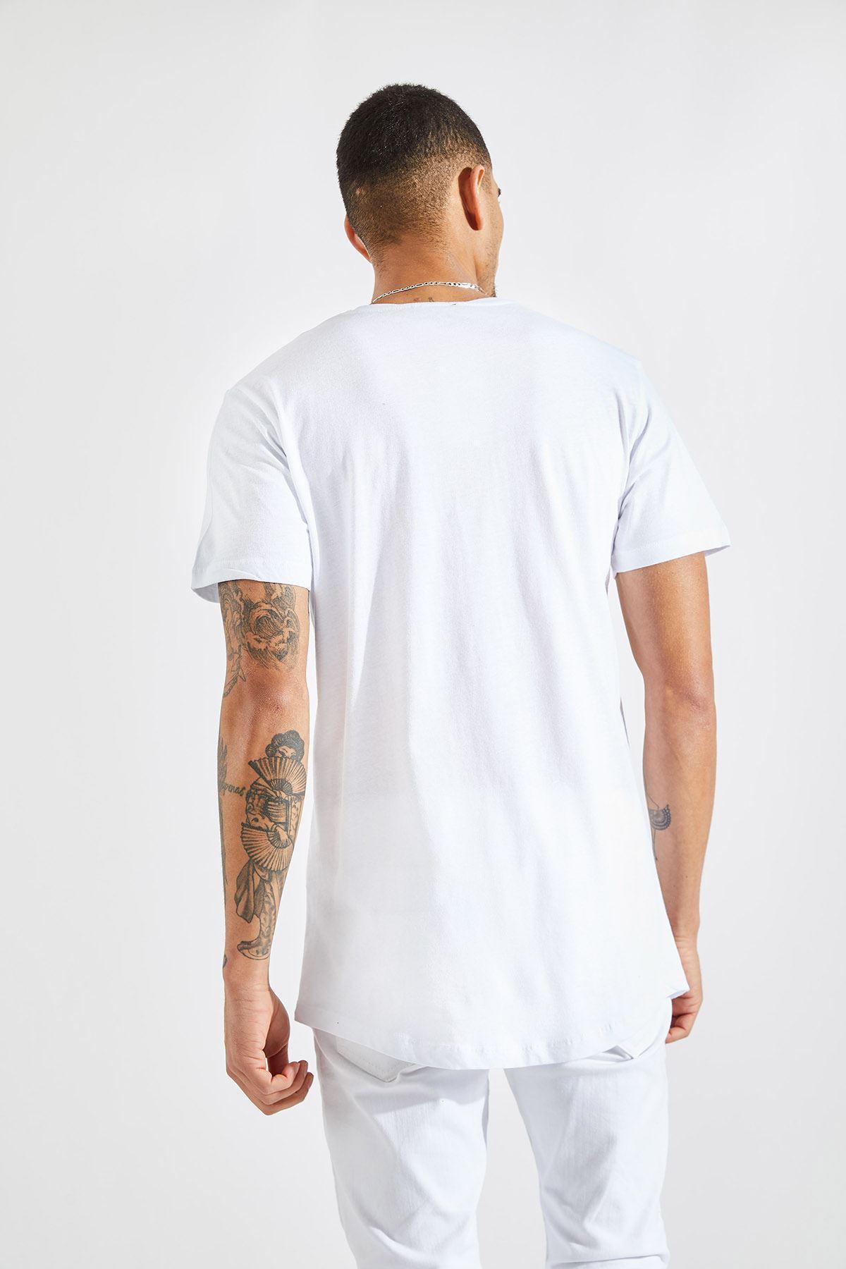 Erkek O Yaka 97 Kabartma Baskı Beyaz Tişört