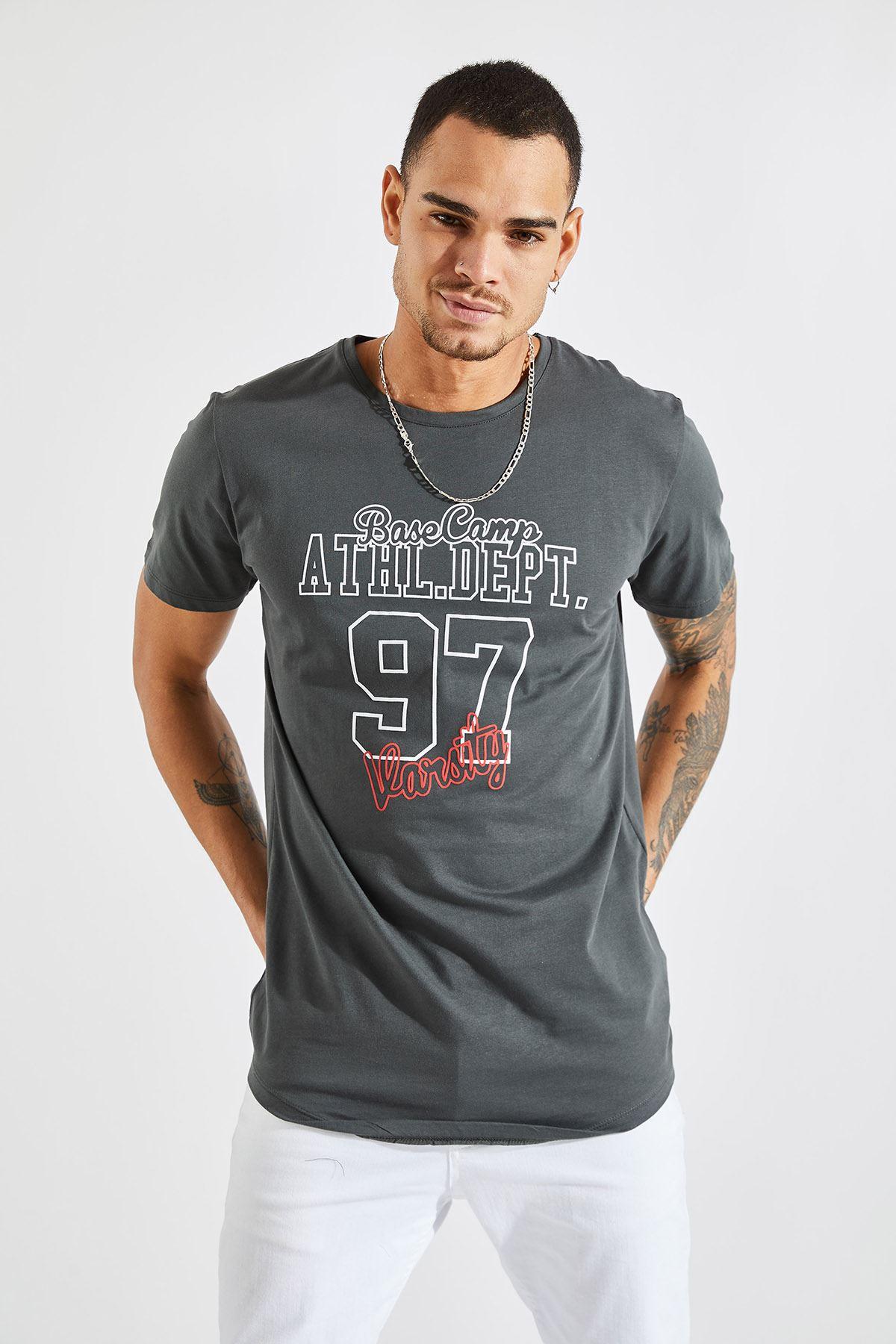Erkek O Yaka 97 Kabartma Baskı Füme Tişört