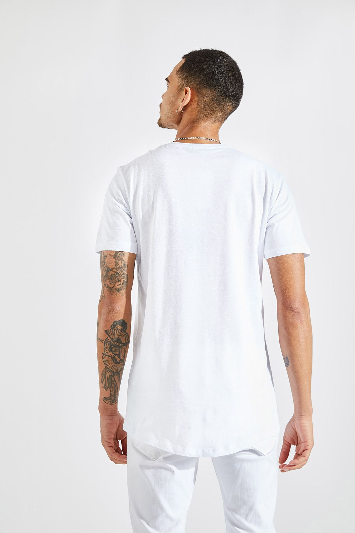 Erkek O Yaka Nasa Baskı Beyaz Tişört