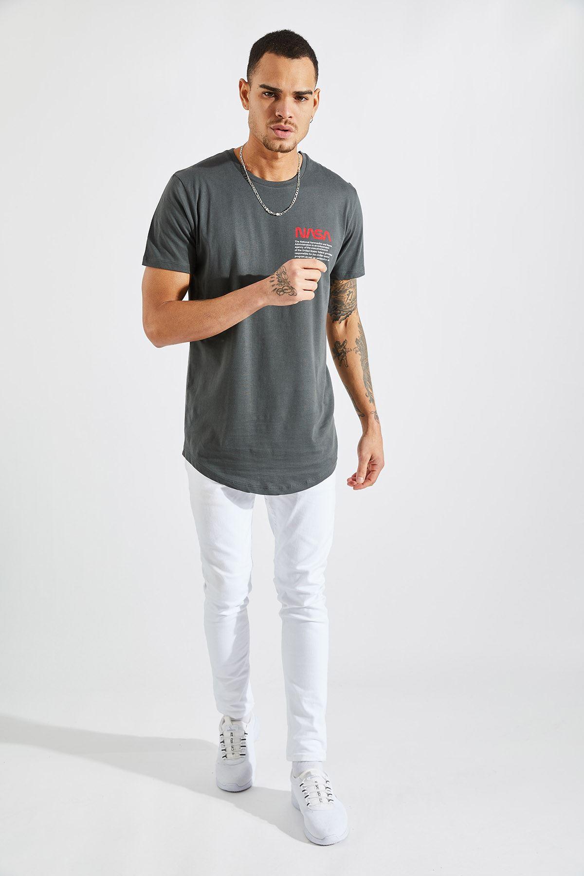 Erkek O Yaka Nasa Baskı Füme Tişört