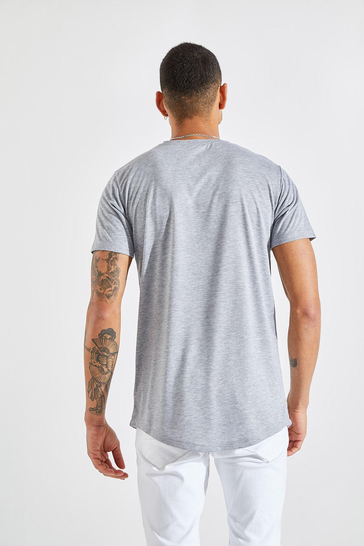 Erkek O Yaka Nasa Baskı Gri Tişört