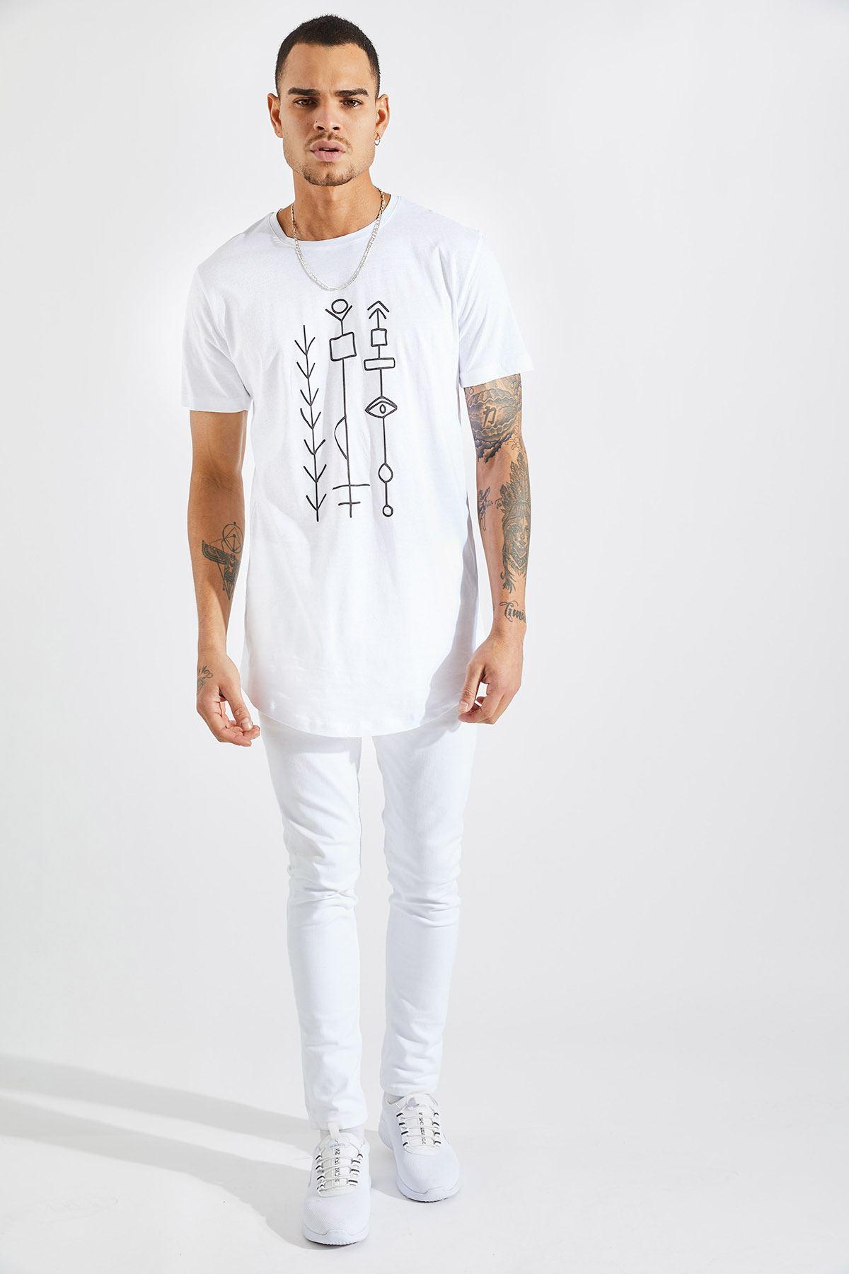 Erkek O Yaka Göz Kabartma Baskı Beyaz Tişört