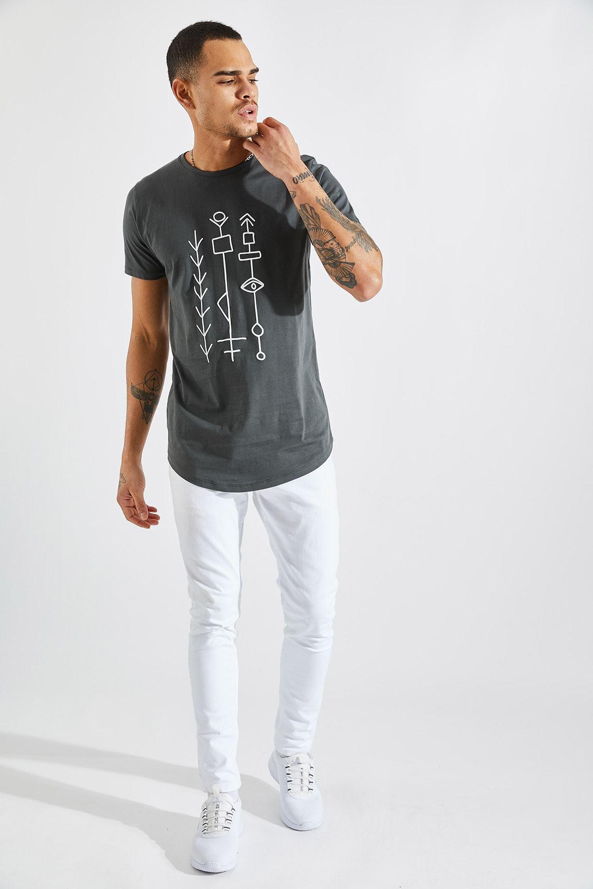 Erkek O Yaka Göz Kabartma Baskı Füme Tişört
