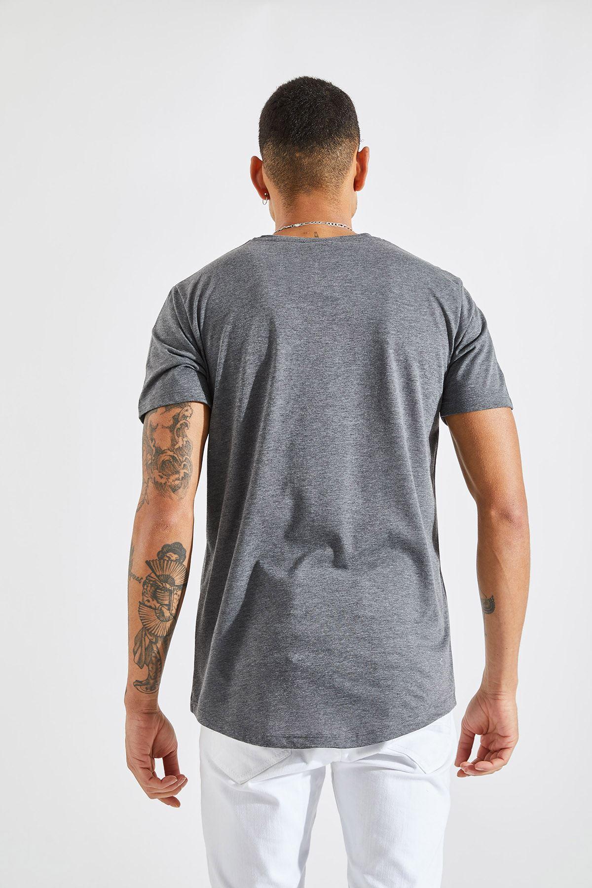 Erkek O Yaka Core Baskı Antrasit Tişört