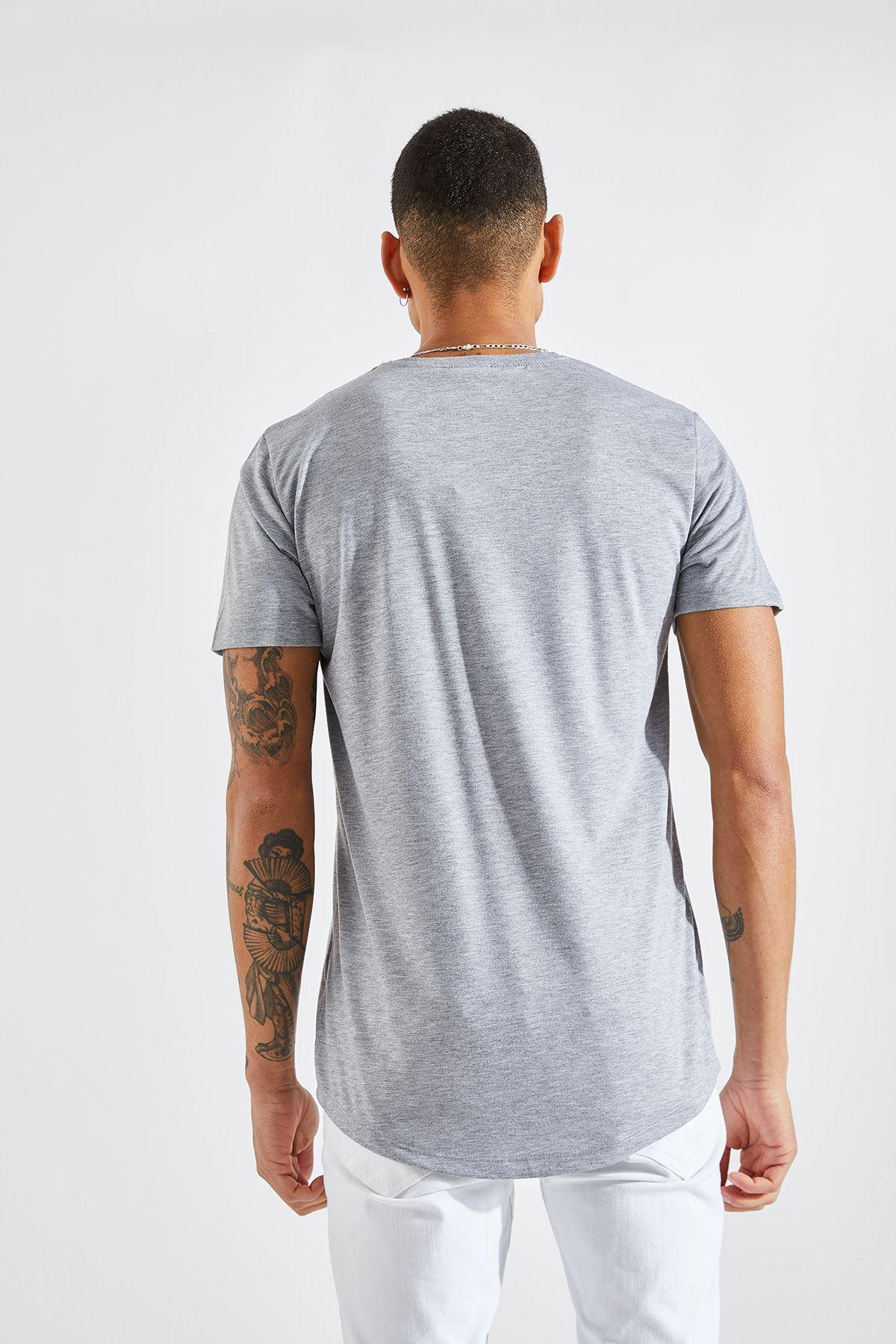 Erkek O Yaka Core Baskı Gri Tişört