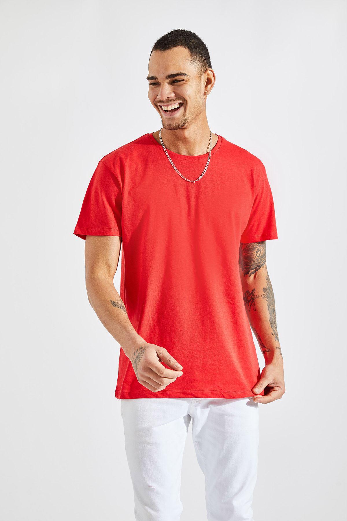 Erkek O Yaka Flamlı Kırmızı Tişört