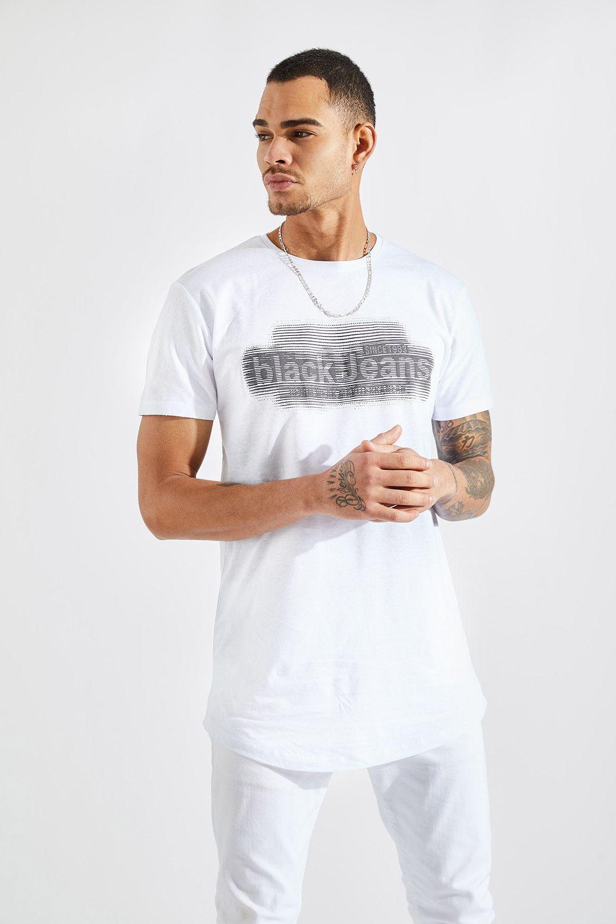 Erkek O Yaka Black Jeans Baskı Beyaz Tişört