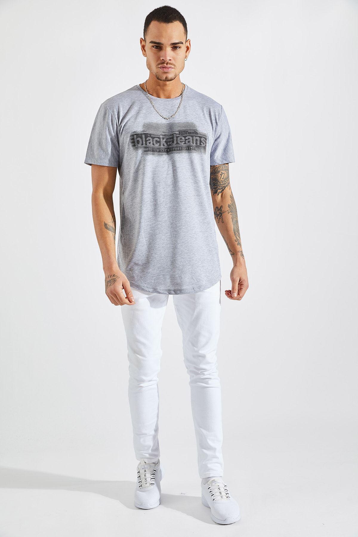 Erkek O Yaka Black Jeans Baskı Gri Tişört