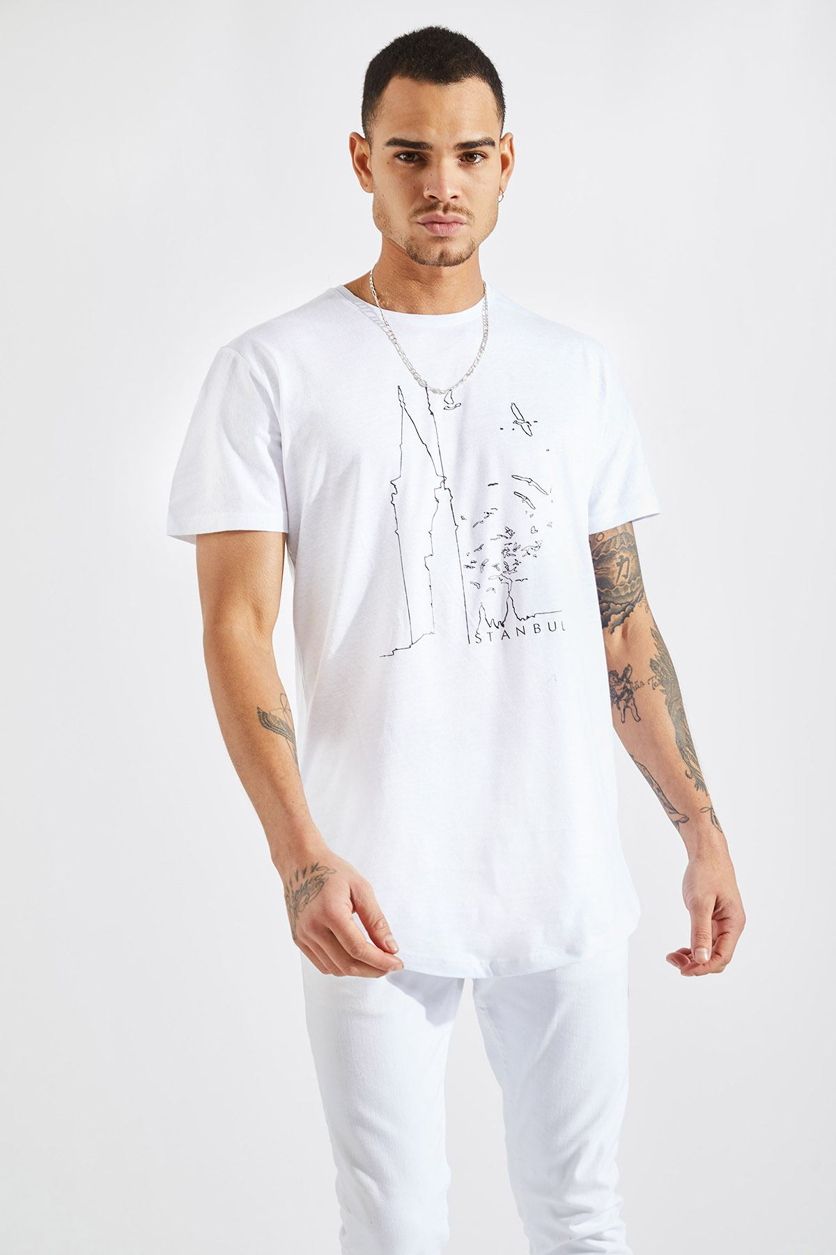 Erkek O Yaka Galata Kulesi Baskı Beyaz Tişört