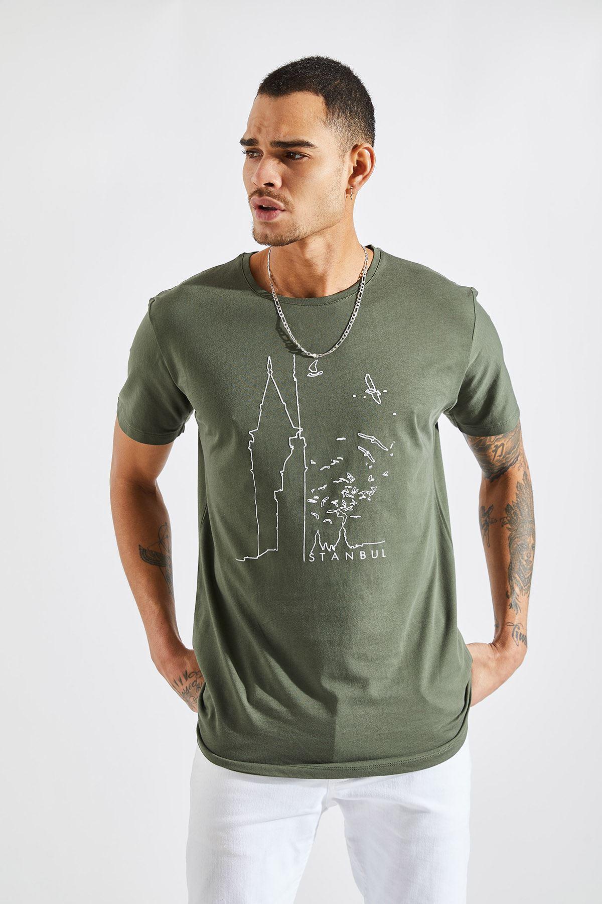 Erkek O Yaka Galata Kulesi Baskı Haki Tişört