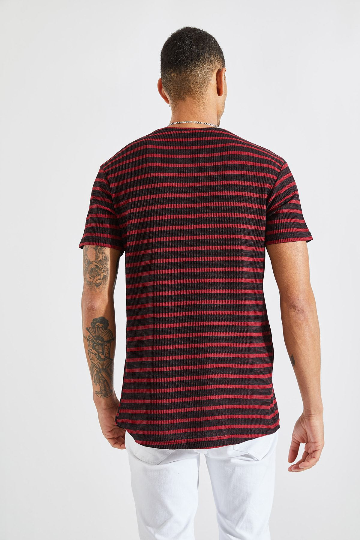 Erkek Jakarlı Çizgili Bordo Tişört