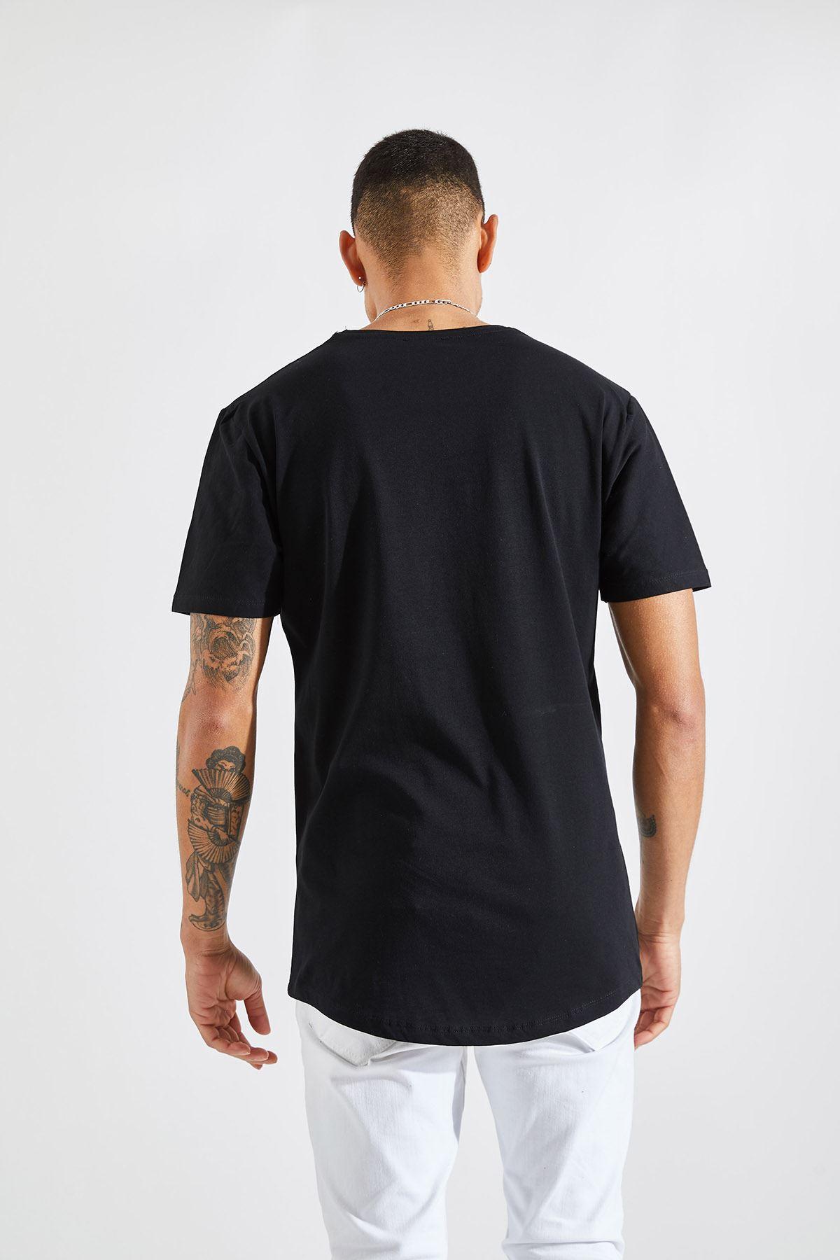 Erkek O Yaka Galata Kulesi Baskı Siyah Tişört