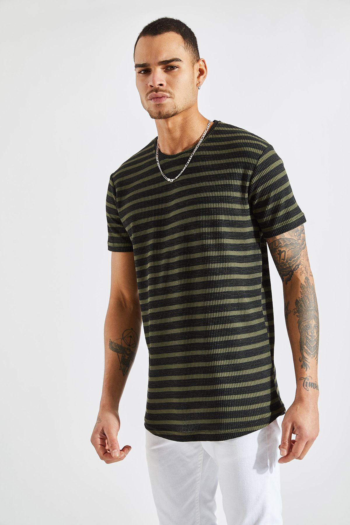 Erkek Jakarlı Çizgili Haki Tişört