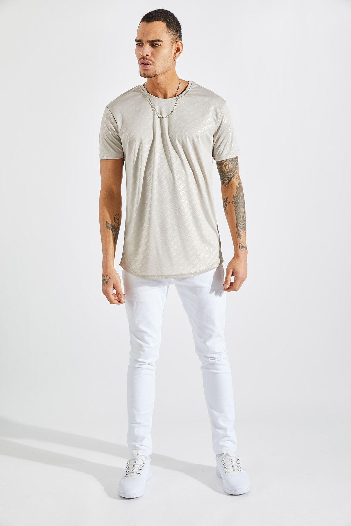 Erkek Baskılı Bej Tişört