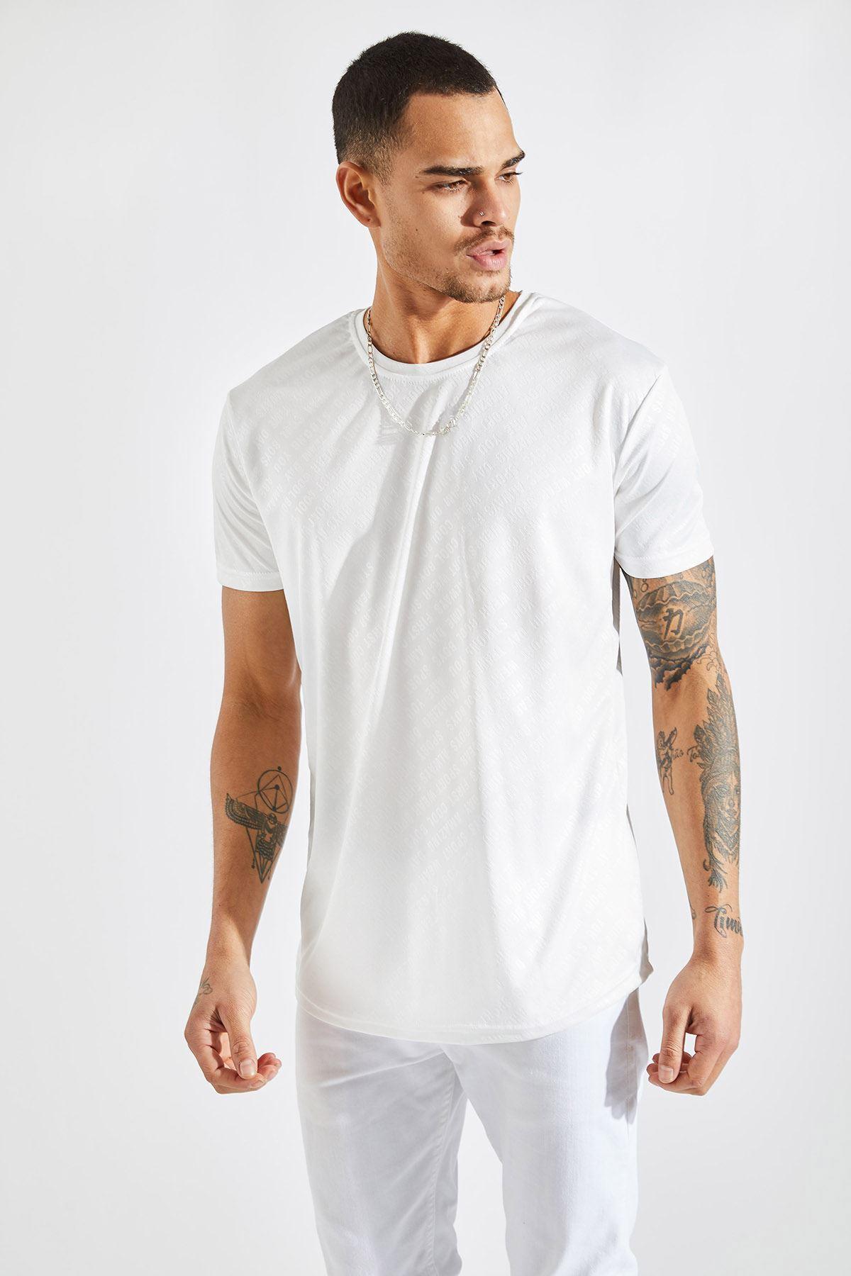Erkek Baskılı Beyaz Tişört